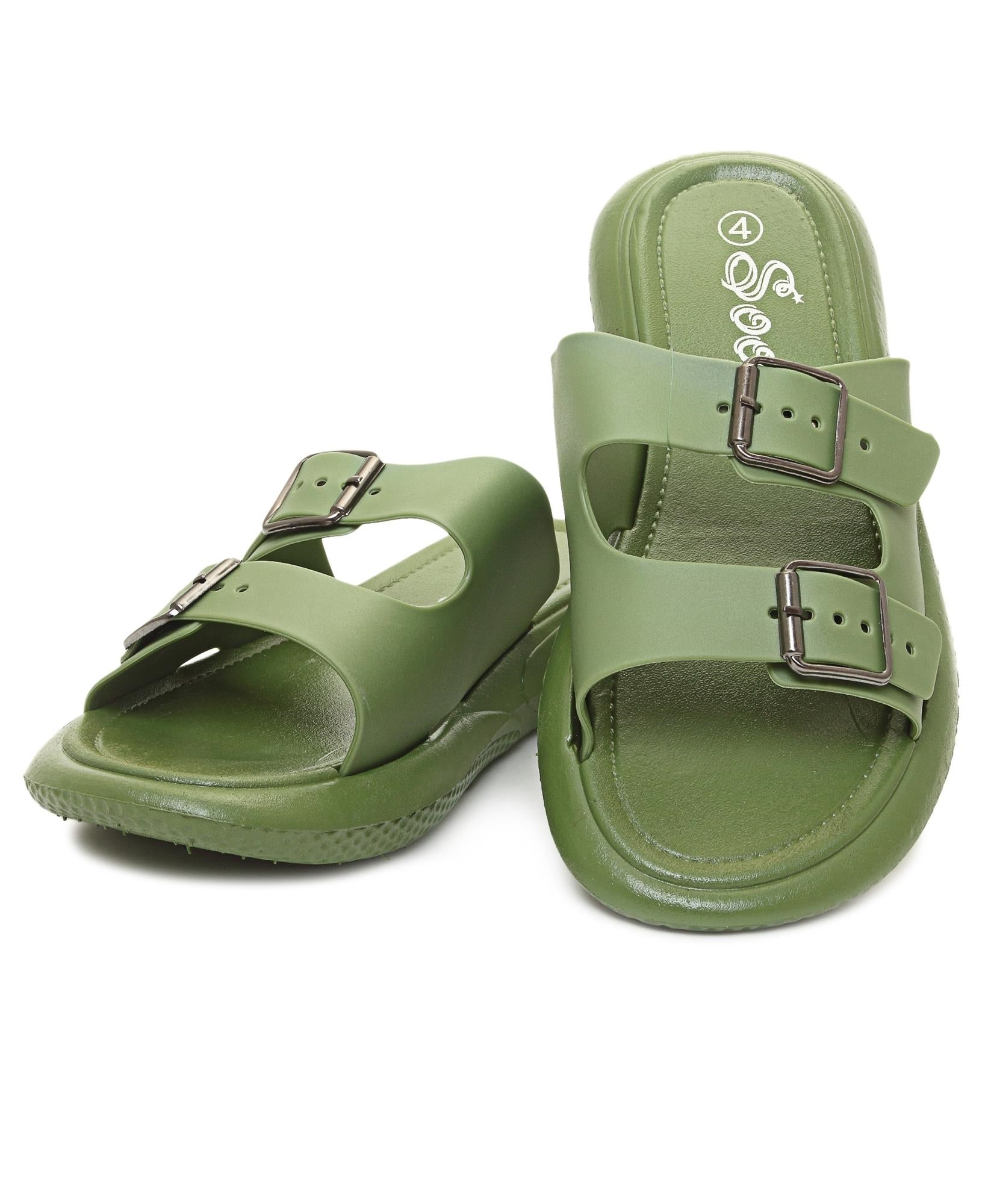 Double Buckle Sandals - Olive