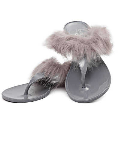 Fur Jelly Slippers - Grey