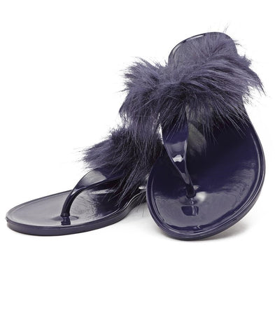 Fur Jelly Slippers - Navy
