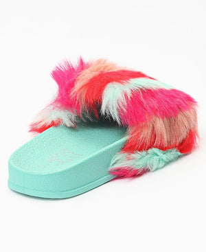 Girls Fur Sandals - Mint