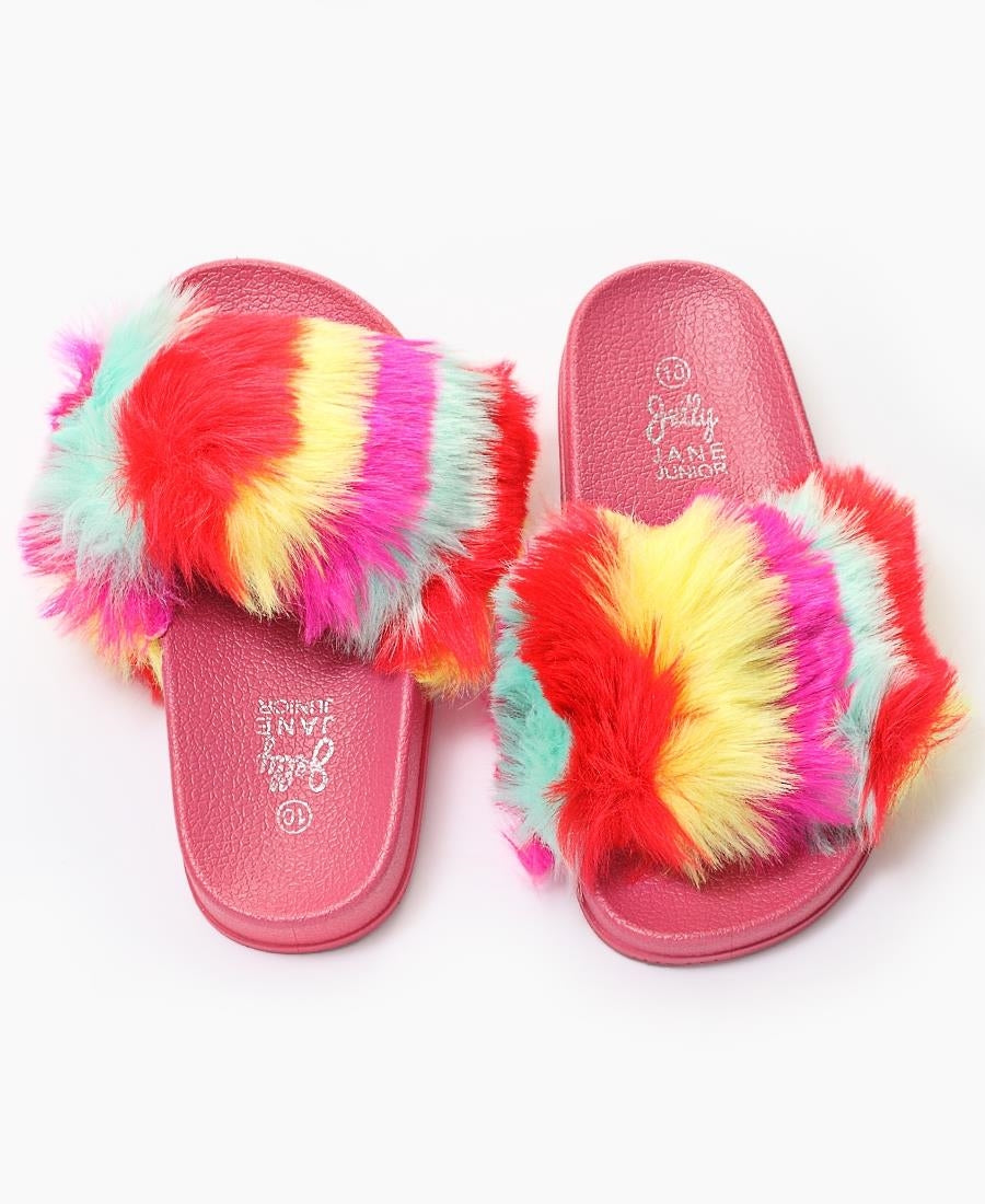 Girls Fur Sandals - Pink