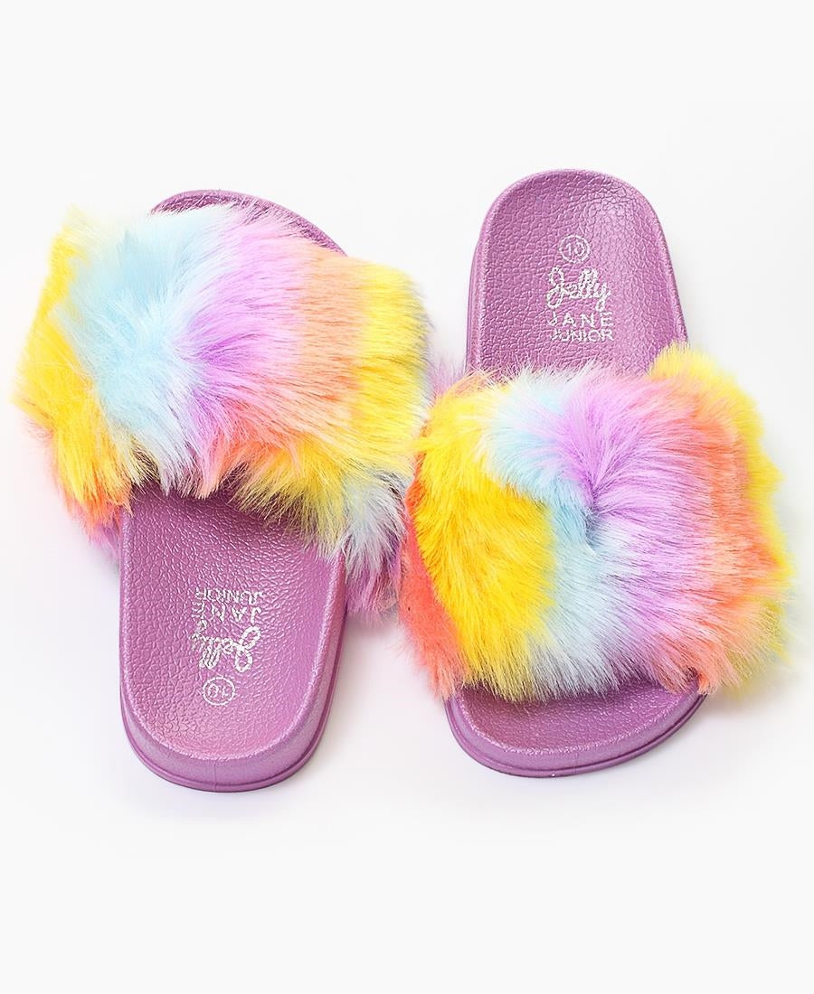 Girls Fur Sandals - Purple