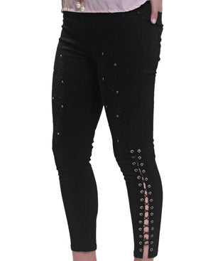 Lace Mid Calf Jeans - Black