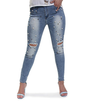 Ripped Pearl Skinny Jeans - Blue
