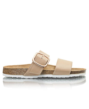 Buckled Slip On Sandals - Nude