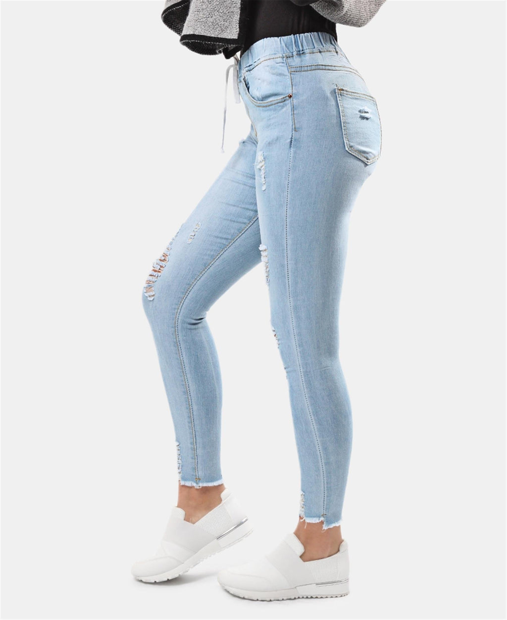 Ripped Skinny Jeans - Light Blue