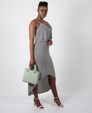 Strappy Cape Style Dress - Black-White