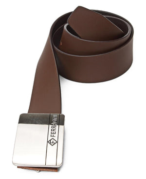 Leather Buckle Belt - Brown