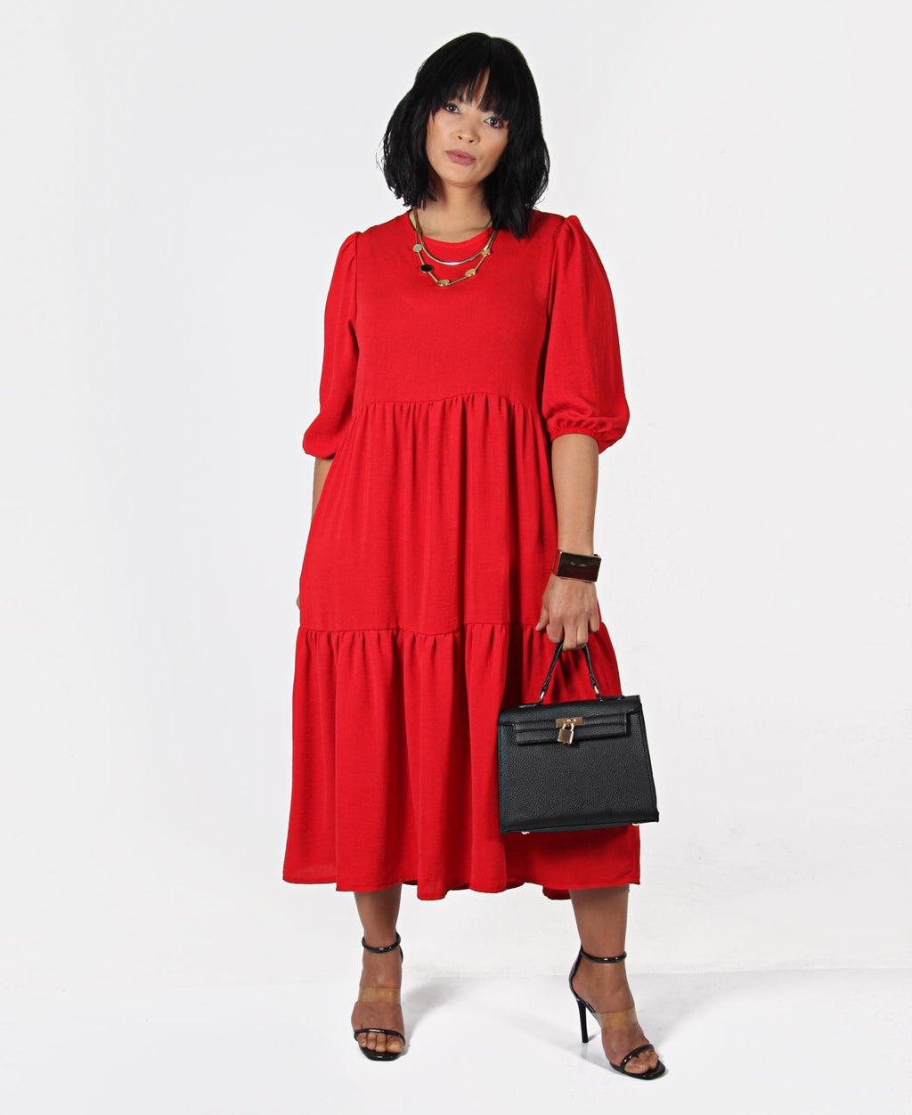 Elbow Sleeve Trapeze Dress - Red