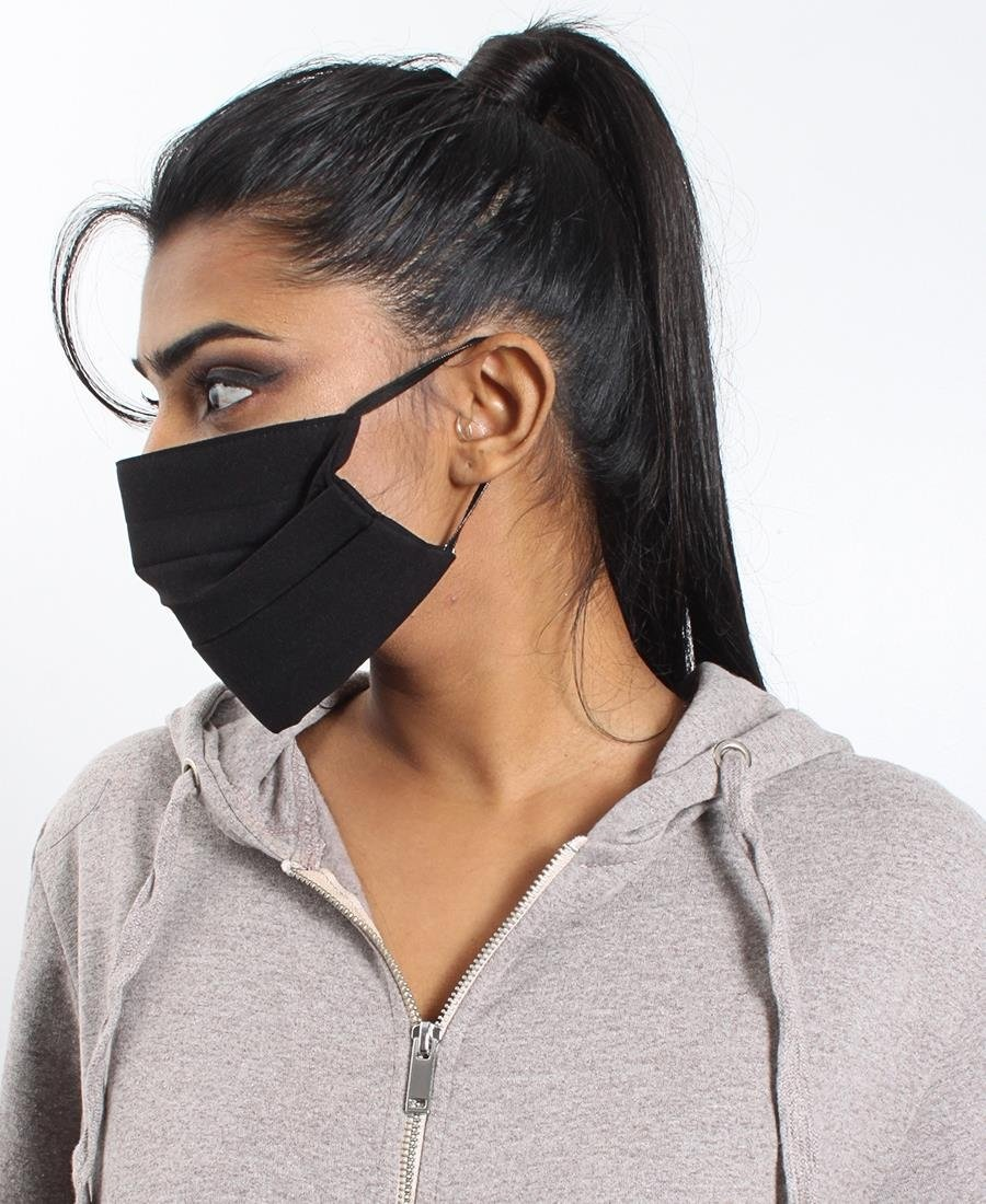 Pleated 3 Ply Cotton Mask - Black