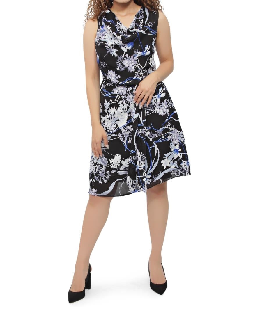 Printed Chiffon Dress - Black