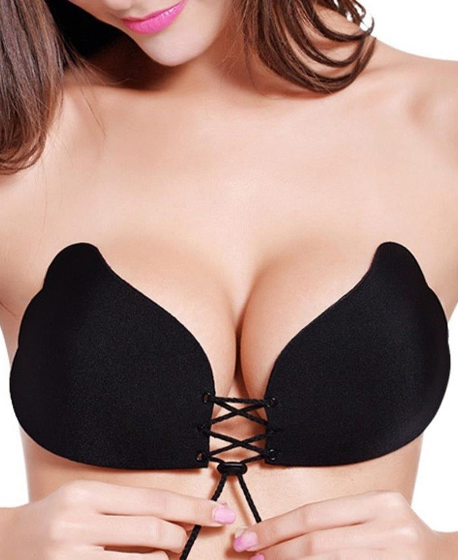 Adjustable Strapless And Backless Push Up Bra - Black