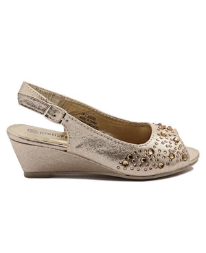 Girls Peeptoe Wedge - Gold