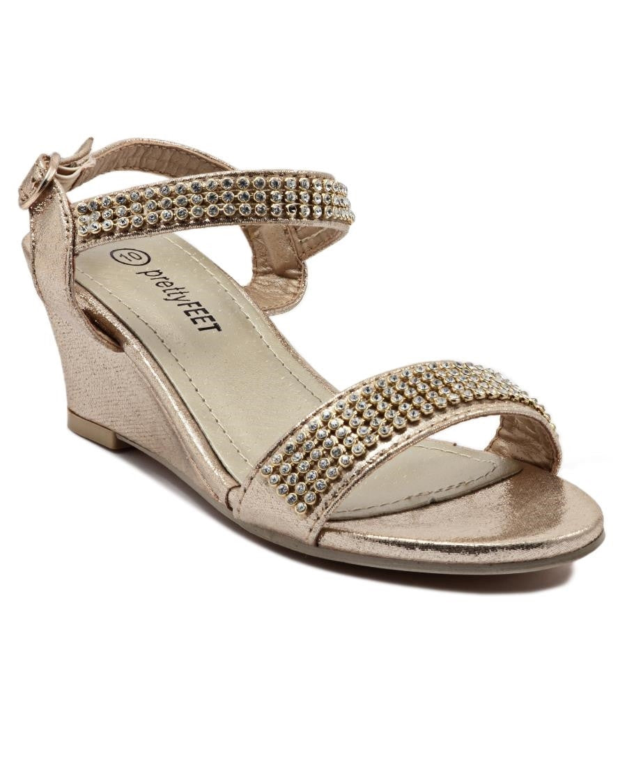 Girls Diamante Wedge - Gold