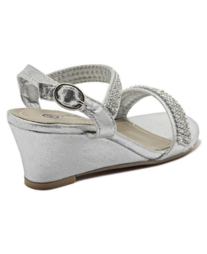 Girls Diamante Wedge - Silver