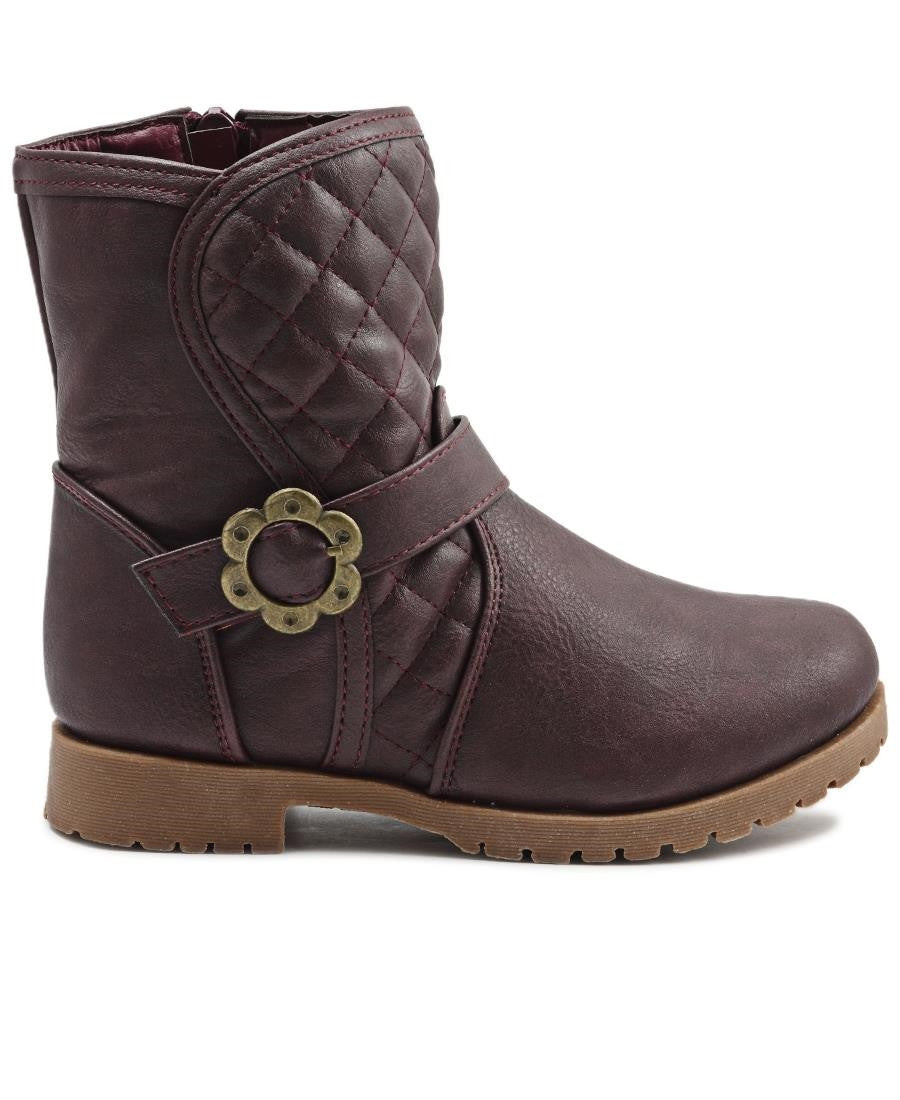 Girls Casual Boots - Burgundy