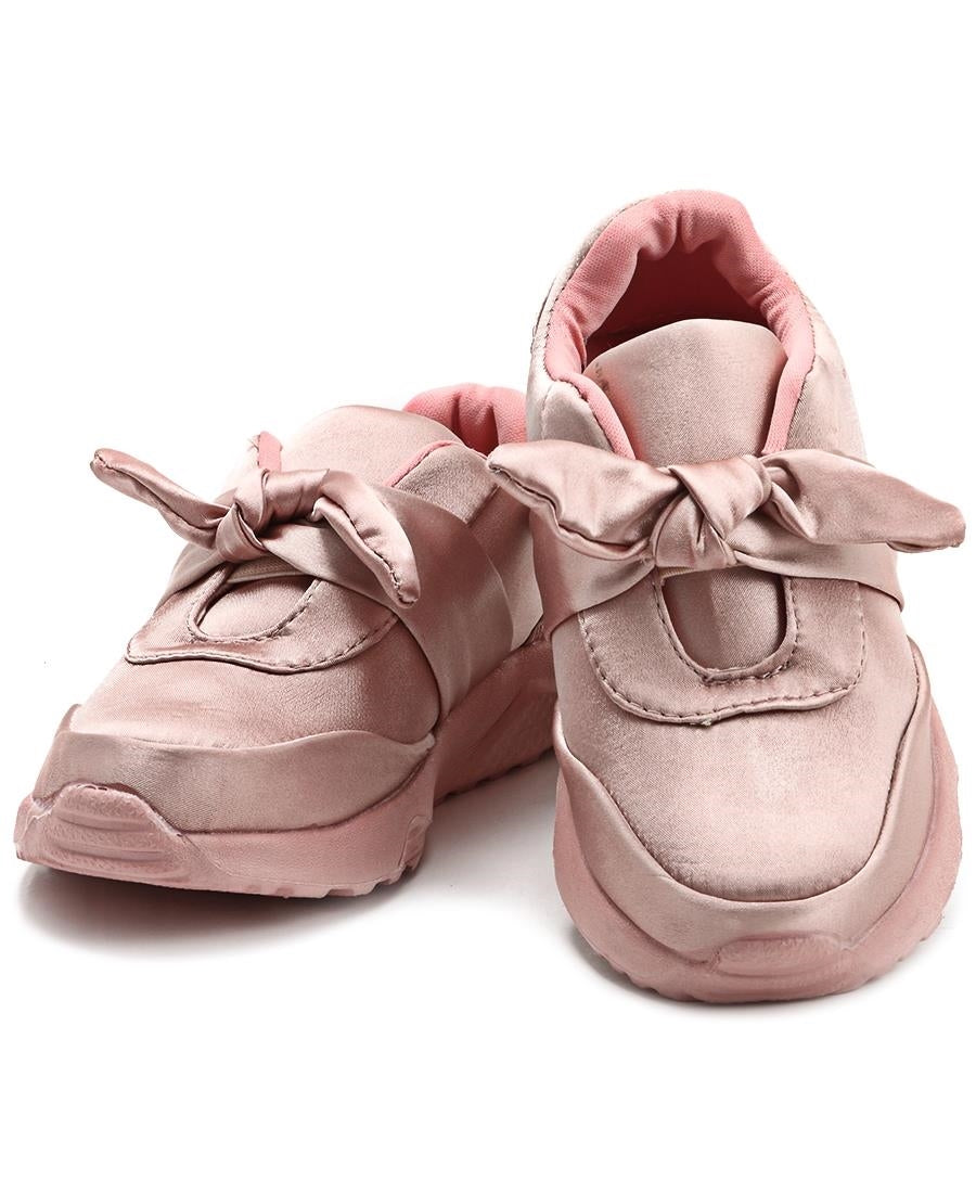 Girls Ribbon Bow Sneakers - Pink