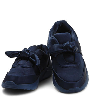 Girls Ribbon Bow Sneakers - Navy
