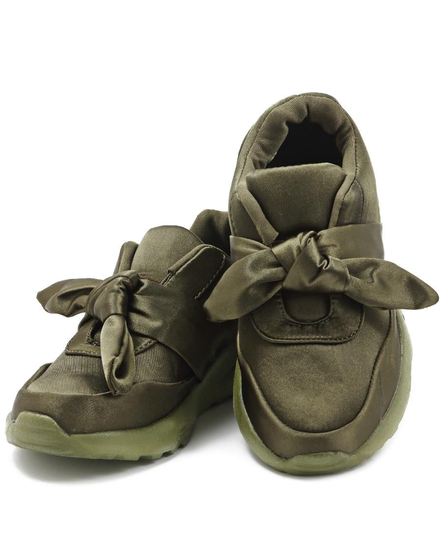 Girls Ribbon Bow Sneakers - Olive