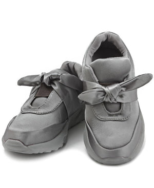 Girls Ribbon Bow Sneakers - Grey