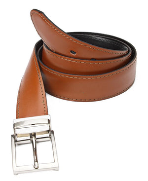 Leather Twist Reversable Belt - Tan