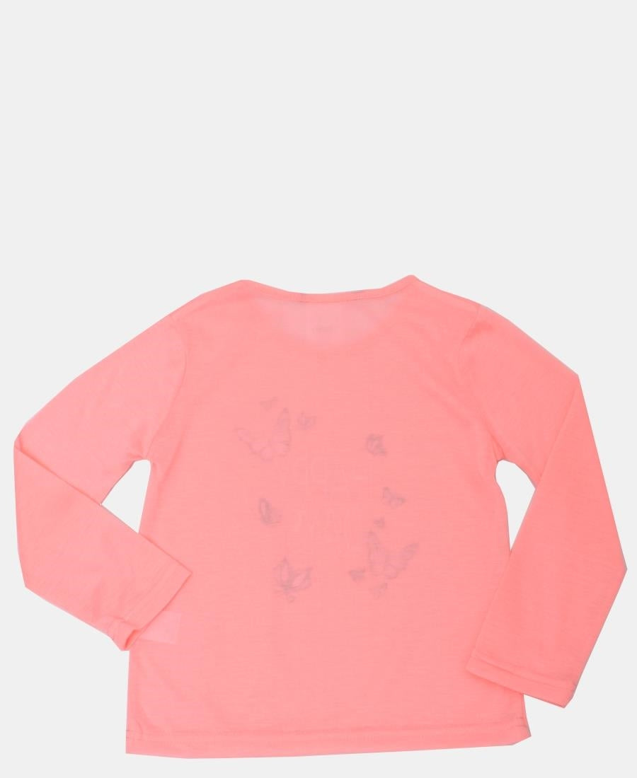 Girls Long Sleeve Top - Coral