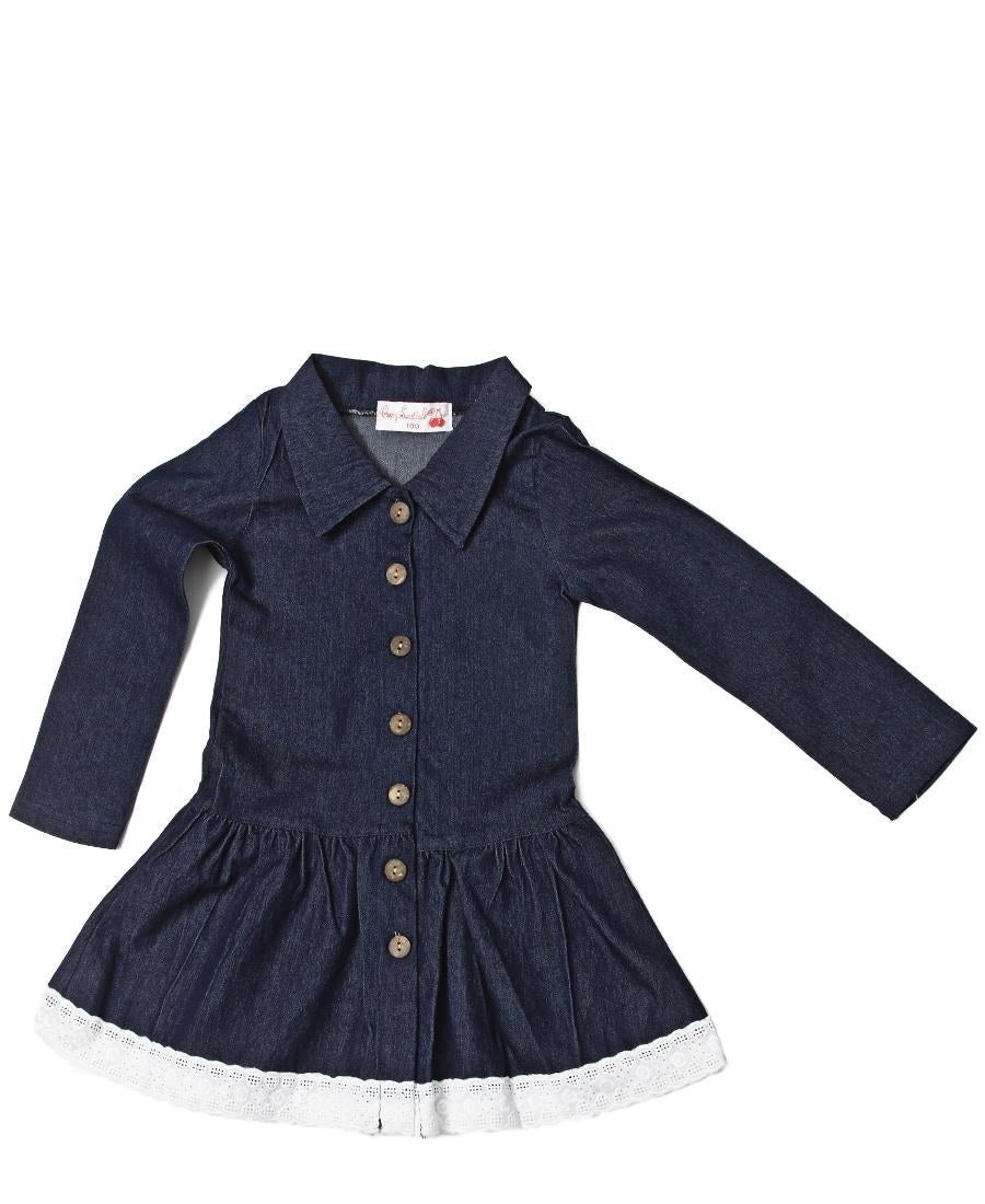 Girls Denim Dress - Navy
