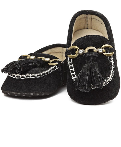 Infants Tassle Moccasins - Black