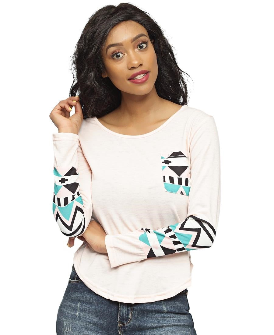 Abstract Print Top - Light Pink