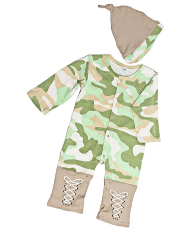 Infants Romper With Hat  - Green