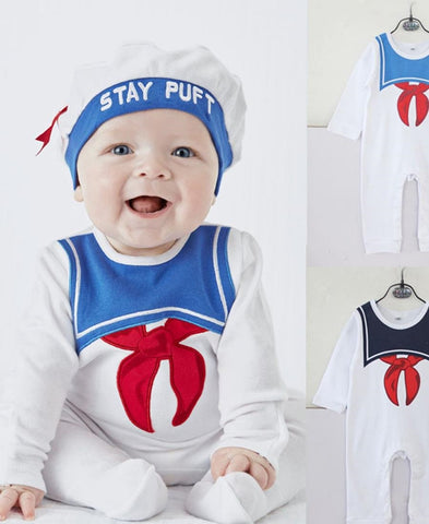 Infants Sailor Romper With Hat - White