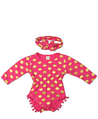 Infants Romper With Headband - Pink
