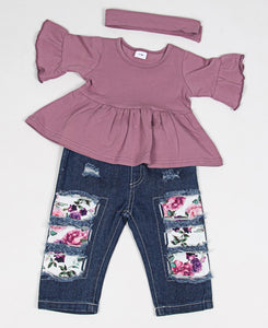 Infants Top With Floral Jeans & Headband - Purple
