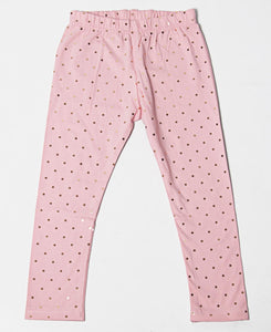 Girls Foil Dotted Print Leggings - Pink