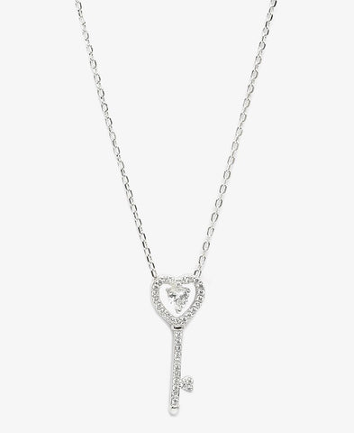 Sterling Silver Key To My Heart Necklace - Silver