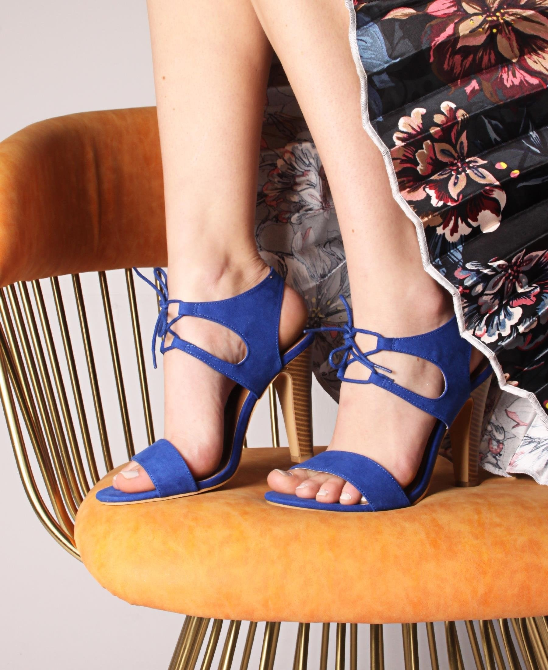 Ankle Lace Up Suede Heel Sandals - Blue