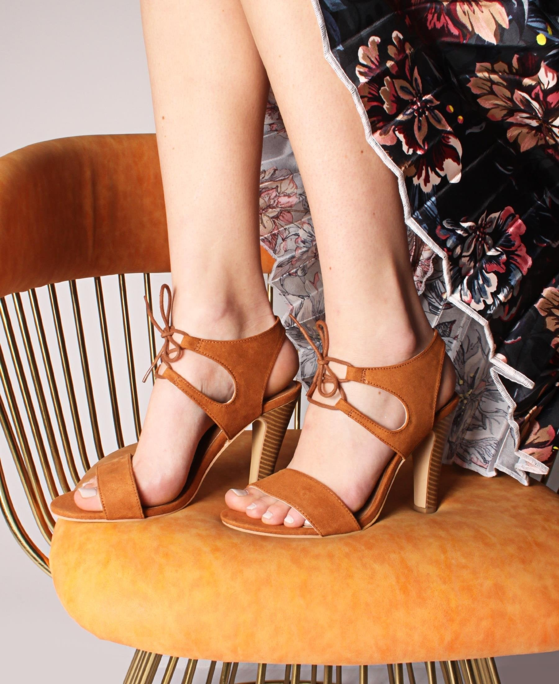 Ankle Lace Up Suede Heel Sandals - Brown