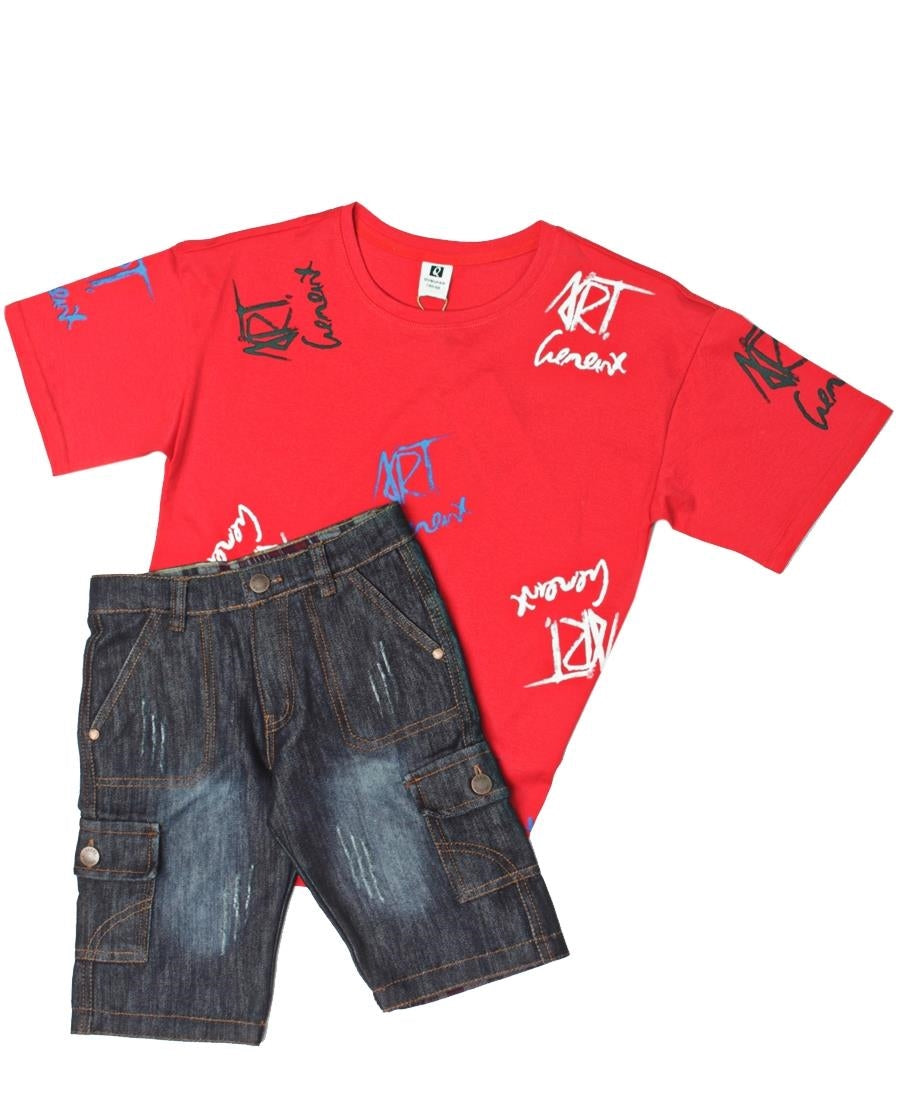 Boys Printed Tee - Red