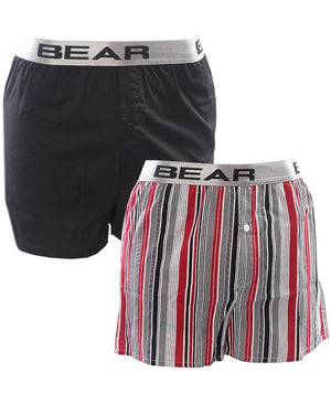 2Pk Woven Boxers - Black-Red