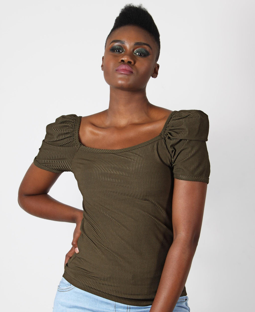 Square Neck Puff Sleeve Top - Olive