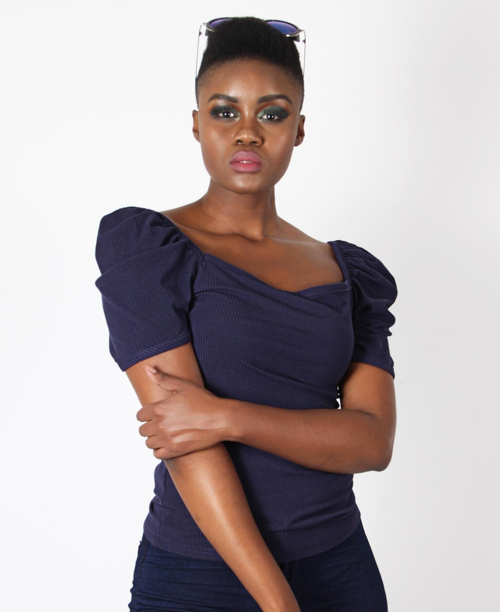 Square Neck Puff Sleeve Top - Navy
