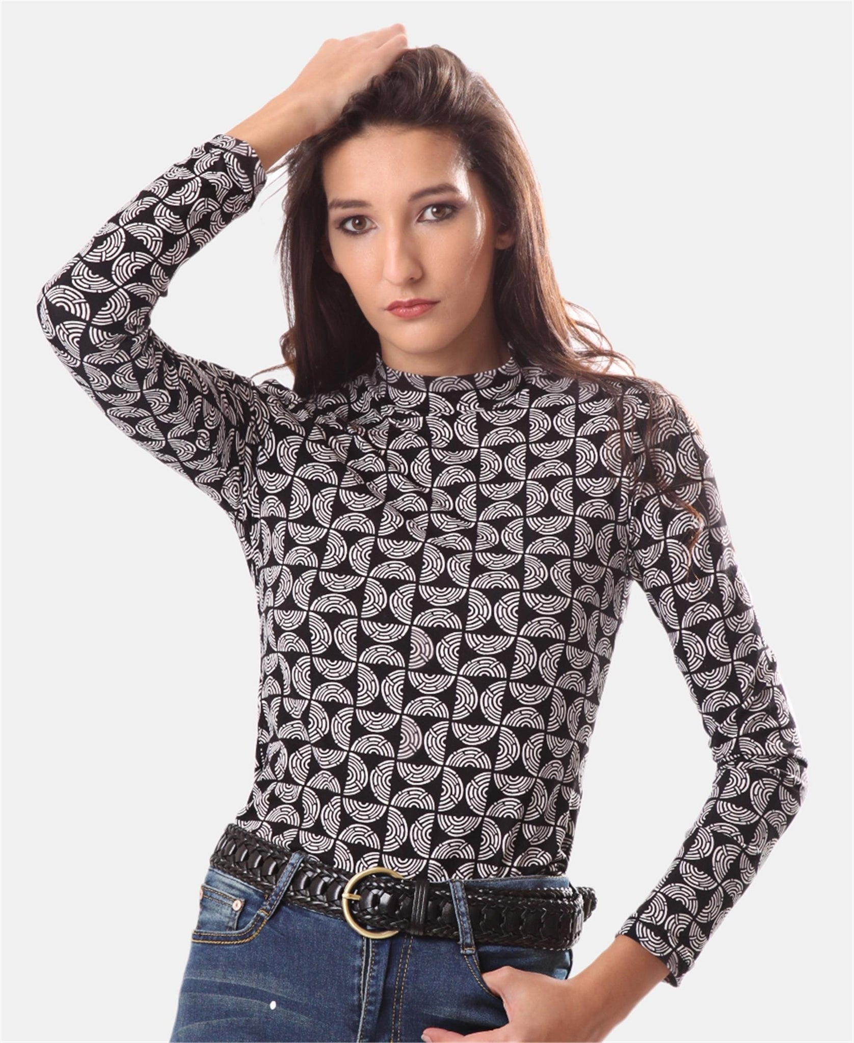 Long Sleeve Turtleneck - Black-White