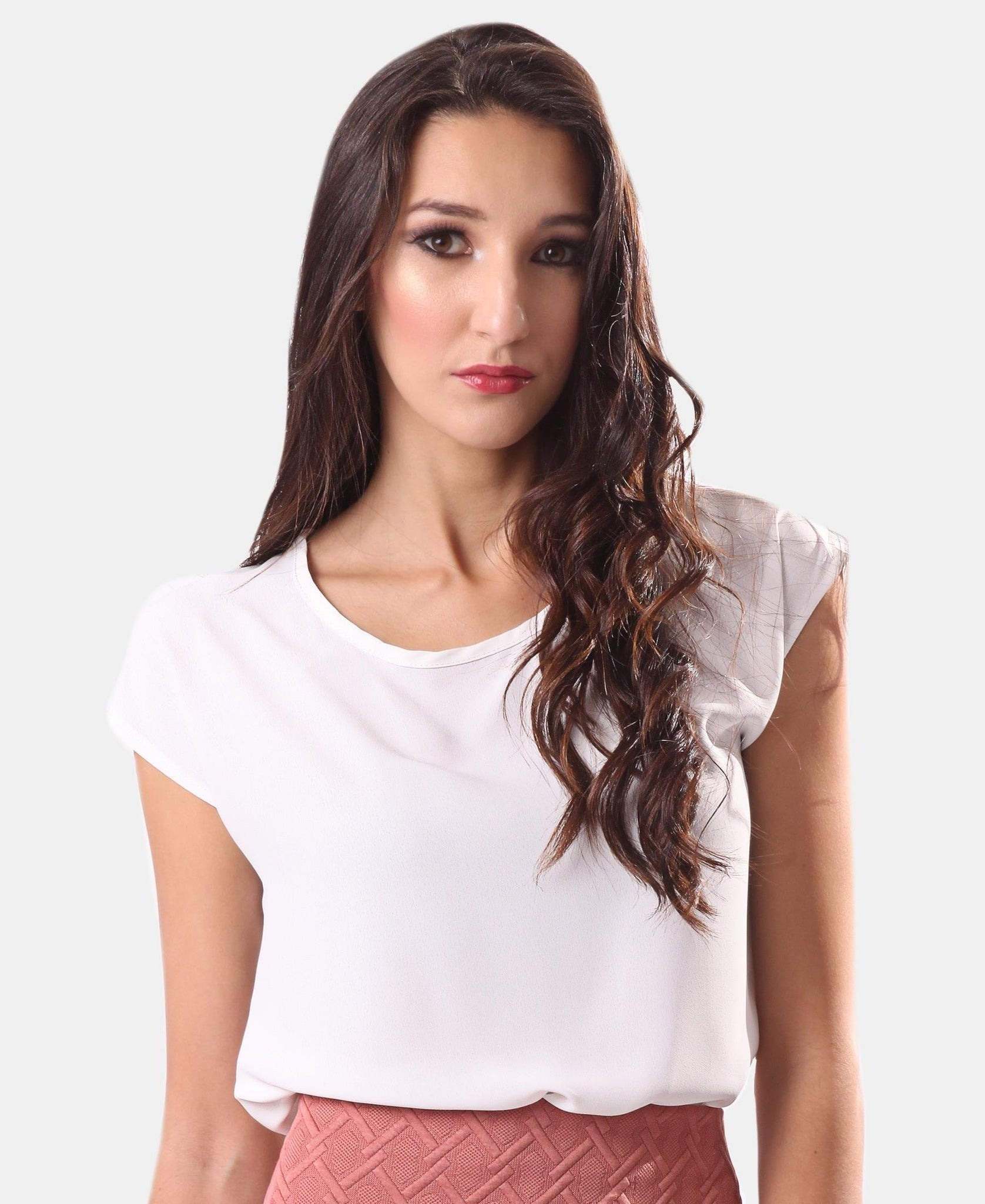 Cap Sleeve Chiffon Top - White
