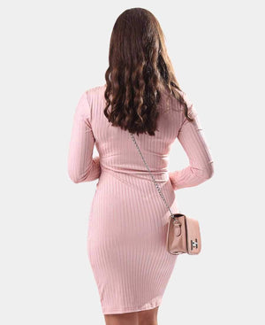 Long Sleeve Bodycon Dress - Pink