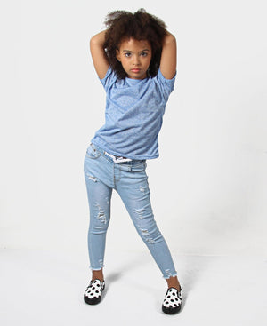 Girls Plain Tee - Blue