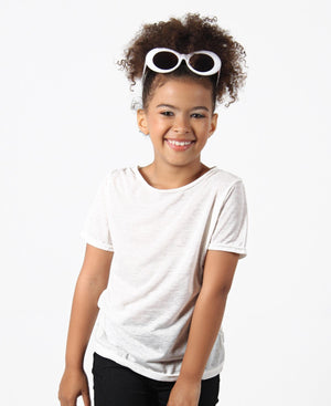 Girls Plain Tee - Cream