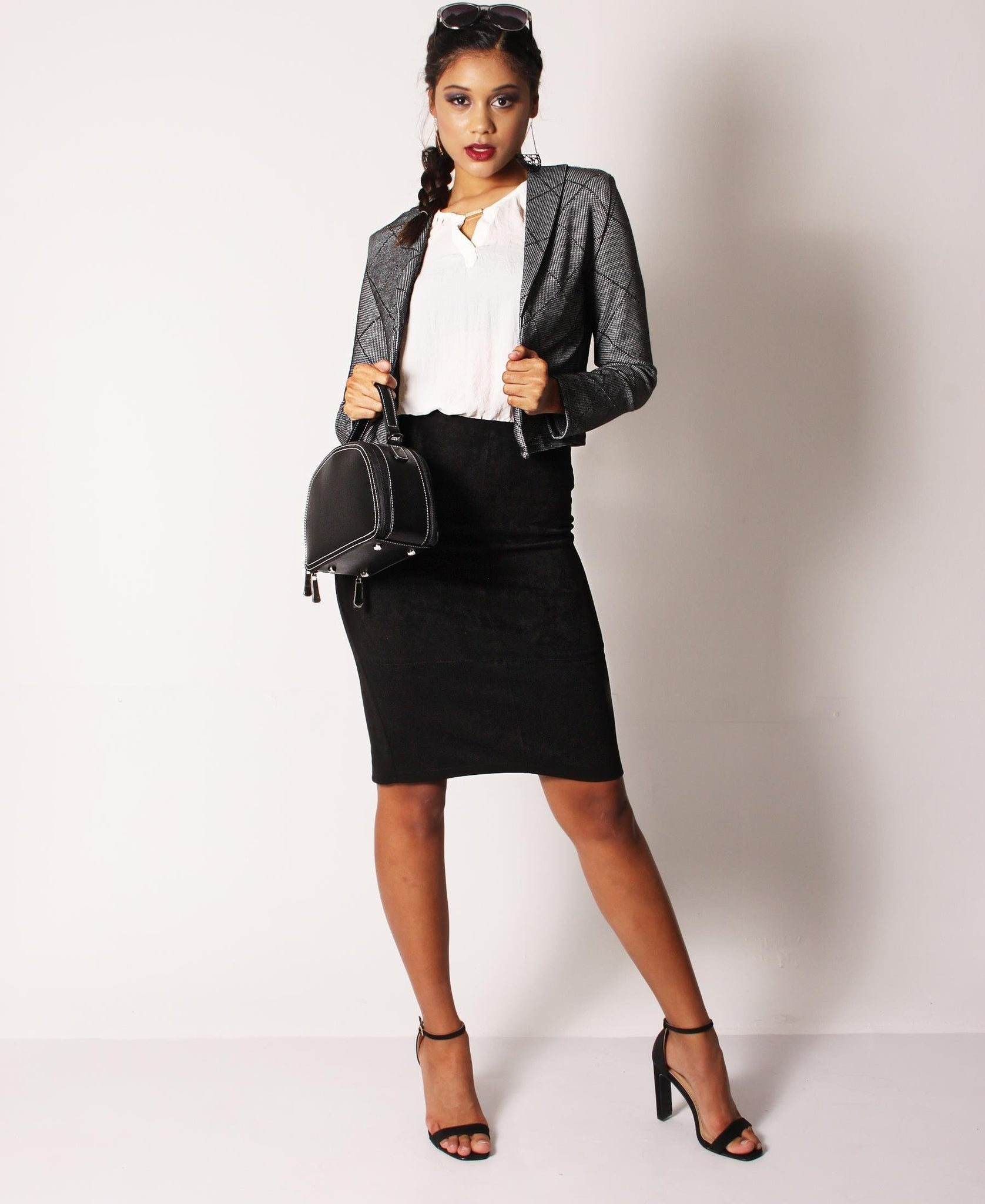 Suede Pencil Skirt - Black