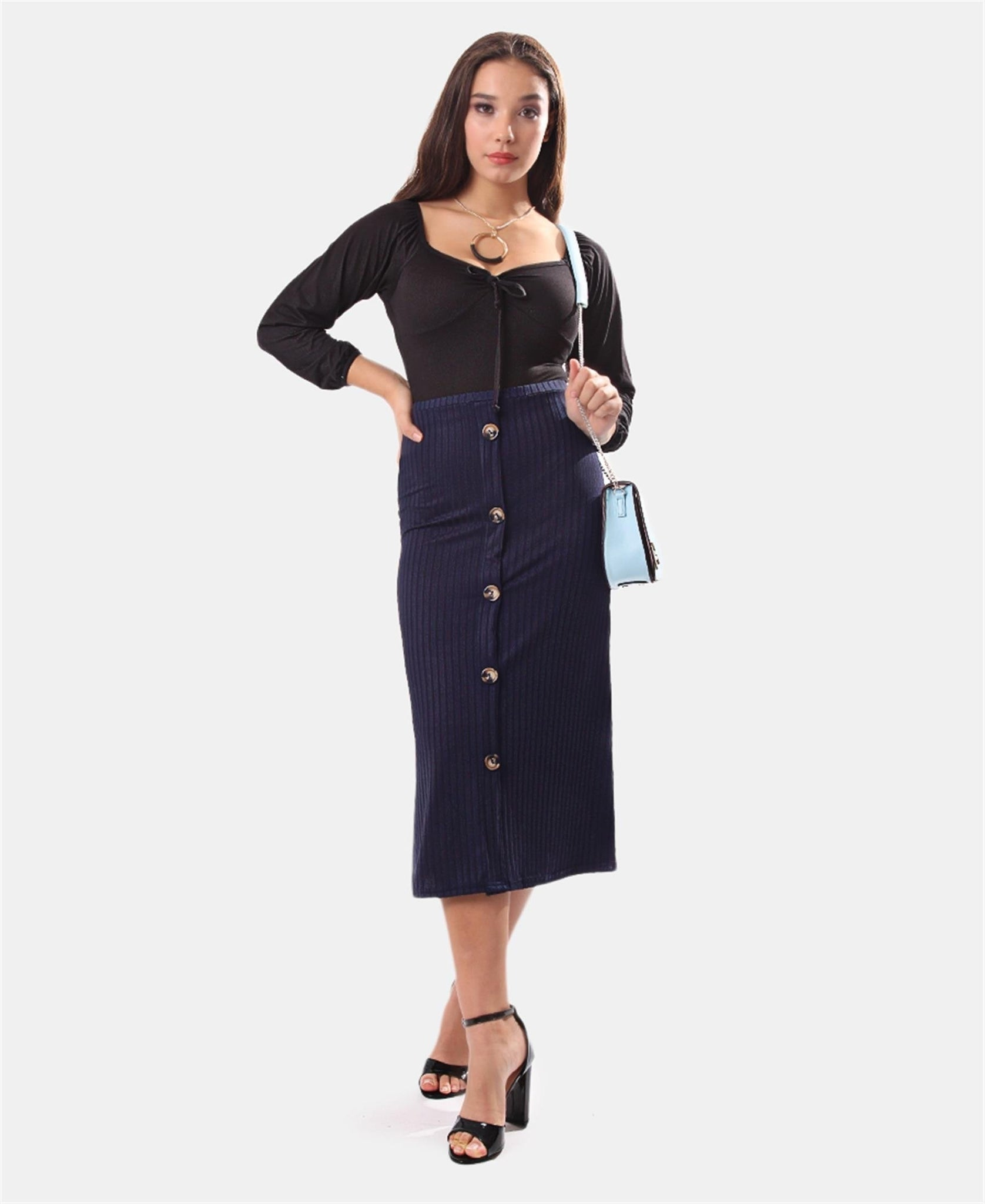 Ribbed Midi Skirt - Navy