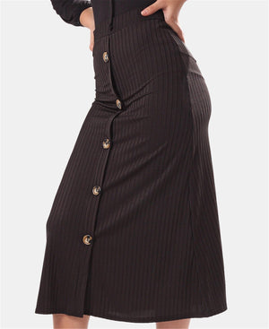 Ribbed Midi Skirt - Black
