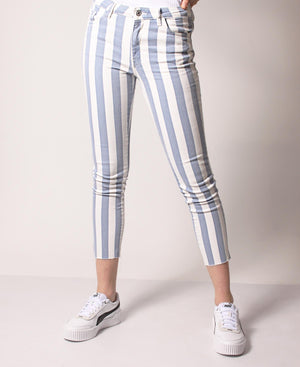 Mid Rise Striped Skinny Pants - Blue-White